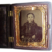 Fabulous Girl With Cross/Crucifix Necklace Tintype in Thermoplastic Case