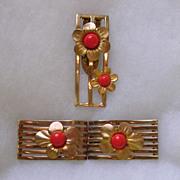Art Deco Belt Clasp and matching Dress Clip