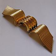 Large Art Deco Ribbed Metal Belt Clasp