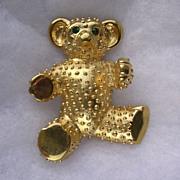 Large Butler & Wilson Gold Plated Teddy Bear Brooch