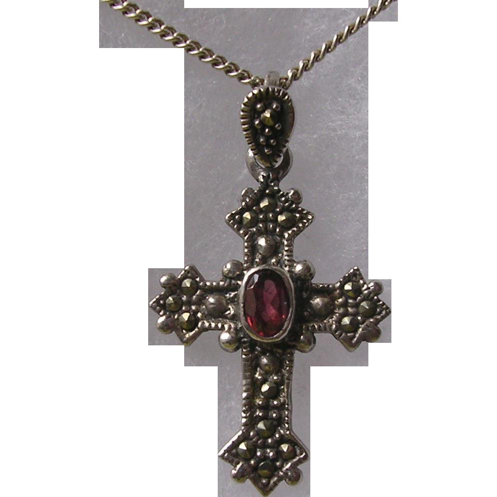 vintage garnet cross
