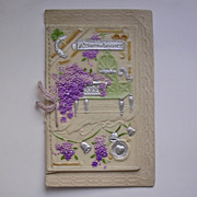 Vintage Molded Celluloid Front Christmas Card With Lilac c1921