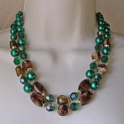 2 Strand Emerald Faux Pearl and Faux Tigers Eye Art Glass Bead Necklace