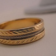 Vintage Estate 10k Yellow and White Gold Textured Wedding Ring Band