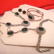 SALE Vintage Necklace Earrings Bracelets Set Parure Emerald Green Glass Clear Rhinestone