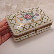 Stunning Big Vintage Painted Gilt Porcelain French Hinged Dresser Box for Birks Canada