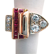 Art Deco 14k Rose Gold Diamond and Ruby Ring