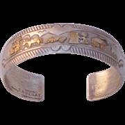 Fine Vintage Signed TA Begay Sterling/ 12K GF Storyteller Cuff Bracelet