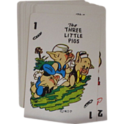 Vintage 1965 Disney Three Little Pigs Card Game