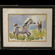 Artist Original Watercolor Painting of Horses