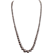 Vintage Silver Graduated Bead Ball Necklace