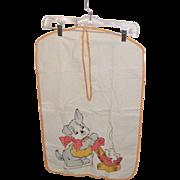 Vintage Hand Appliqued Puppy Laundry Bag Circa 1930's