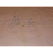 Vintage Embroidered Teddy Bear Baby Blanket