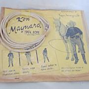 """REDUCED Vintage Cowboy Trick Rope Toy """"Ken Maynard"""" Circa 1930's"""