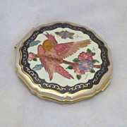 Vintage Enameled Parrot and Floral Compact