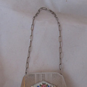 Lovely Art Deco Guilloche Enamel Rose and Metal Purse With Wrist Chain