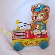 "REDUCED Vintage Fisher Price ""Tiny Teddy"" Pull Toy Circa 1950's"