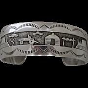 REDUCED Vintage Navajo Sterling Silver Storyteller Bracelet