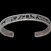 REDUCED Vintage Navajo Sterling Silver Storyteller Bracelet Artist Signed