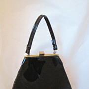 Vintage Black Patent Leather Purse Circa 1960's