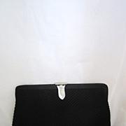Vintage Black Rhinestone Clutch Purse Circa 1950