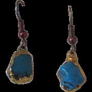 REDUCED Handmade Custom Turquoise and 24 K Gold Filled Earrings