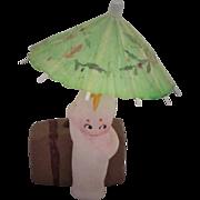REDUCED Vintage 1930's Chalk Kewpie Doll with Umbrella