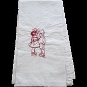 REDUCED Vintage Red Embroidered Children Muslin Tea Towel