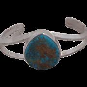 REDUCED Vintage Navajo Custom Sterling Silver and  Turquoise Bracelet Artist Signed