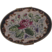 REDUCED Vintage German Hand Made Needle Point Compact