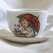 Vintage Hummel Porcelain Doll Size Cup And Saucer TOO Sweet !