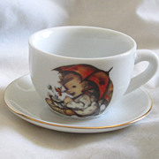 "REDUCED Vintage ""Hummel "" Umbrella Girl Doll Size Cup And Saucer TOO CUTE!"