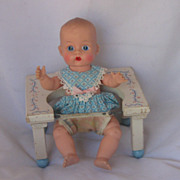 "REDUCED Vintage Circa 1950's ""Dolly Tender "" Wooden Seat For 8 Inch Doll SWEET!"