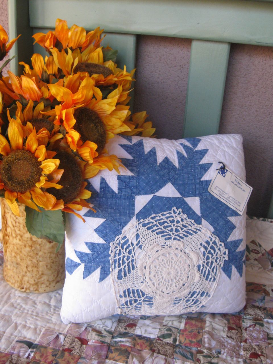 Wonderful Antique Quilt Top Blue And White Pillow