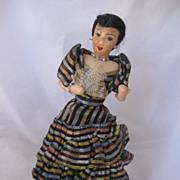 REDUCED Vintage Ethnic Felt Doll All Original