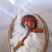 REDUCED Vintage Circa 1960's Indian Doll in Basket DARLING!