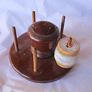 REDUCED Vintage Wooden Sewing Thread Holder and Pin Cushion