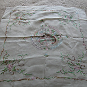 REDUCED Vintage Large Chinese Hand Embroidered Silk Scarf AMAZING !