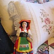 REDUCED Vintage Felt and Plastic Italian Doll