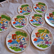 REDUCED Vintage set of 8 Little Red Riding Hood Tin Doll Plates