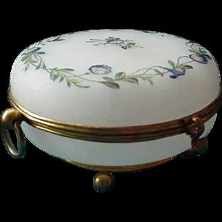 French  Opaline  Glass Enameled  Dresser  Casket