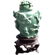 SOLD Carved Turquoise Snuff Bottle