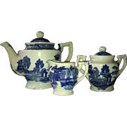 Child's Blue Willow Teapot , Sugar and Creamer Dishes