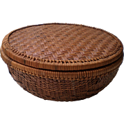 REDUCED Woven Pine Needle Basket with Lid- 1900's
