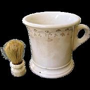 Antique English Shaving Mug with Camel Hair Brush-1900's