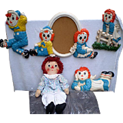 REDUCED Raggedy Ann Knickerbocker 20'' Doll with Matching Wall Plaques- Set of Four