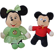 Vintage Knickerbocker Mickey Mouse and Minnie Plush Toy Dolls-1970's