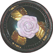 Vintage Glass Paperweight with Ceramic Rose Enclosed-1950's