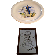 Hopalong Cassidy China Plate by W. S. George and Small Framed Mirror-1950's