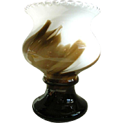 Vintage Chocolate Swirl Milk Glass Footed Vase-Unique and Flawless